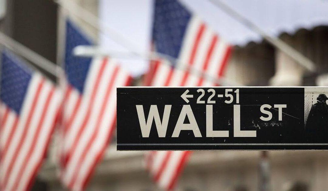 Grote banken omlaag op roodgekleurd Wall Street