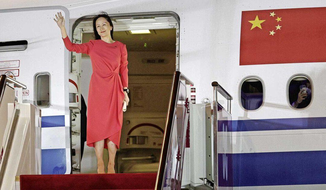 Vrijgelaten Huawei-topvrouw warm onthaald in China